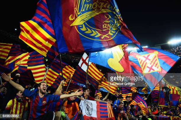 Barcelona fans shows their support prior to the UEFA Champions League Round of 16 second leg match between FC Barcelona and Paris SaintGermain at...