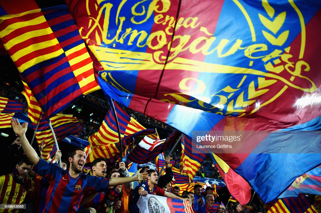 Barcelona fans shows their support prior to the UEFA Champions League Round of 16 second leg match between FC Barcelona and Paris Saint-Germain at Camp Nou on March 8, 2017 in Barcelona, Spain.