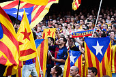 Barcelona fans waves ProIndependence Catalan flags during the La Liga match between FC Barcelona and Granada CF at Camp Nou on September 27 2014 in...