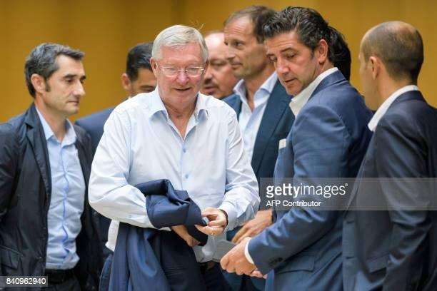 Barcelona FC coach Ernesto Valverde UEFA Coaching Ambassador Sir Alex Ferguson Newcastle United FC coach Rafael Benitez Juventus coach Massimiliano...