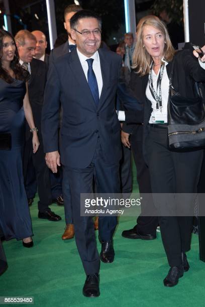Barcelona FC President Josep Maria Bartomeu arrives for the The Best FIFA 2017 Awards at the Palladium Theatre in London England on October 17 2017