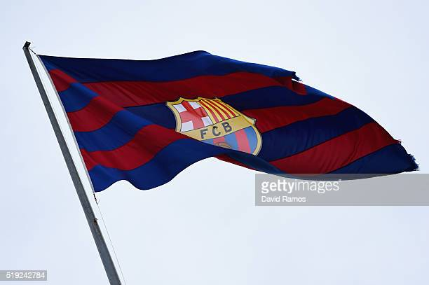 Barcelona flag flutters in the breeze prior to the UEFA Champions League quarter final first leg match between FC Barcelona and Club Atletico de...