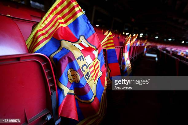 Barcelona flags are placed on every seat prior to kickoff during the UEFA Champions League Round of 16 match between FC Barcelona and Manchester City...
