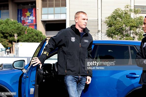 Barcelona Football Club player Jeremy Mathieu attends the presentation of Barcelona Football Club's players receive new cars made by Audi at the Camp...