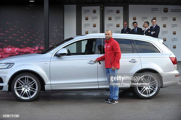 Barcelona Football Club player Mascherano receives the keys of the new Audi cars during the presentation of Barcelona Football Club's new cars made...