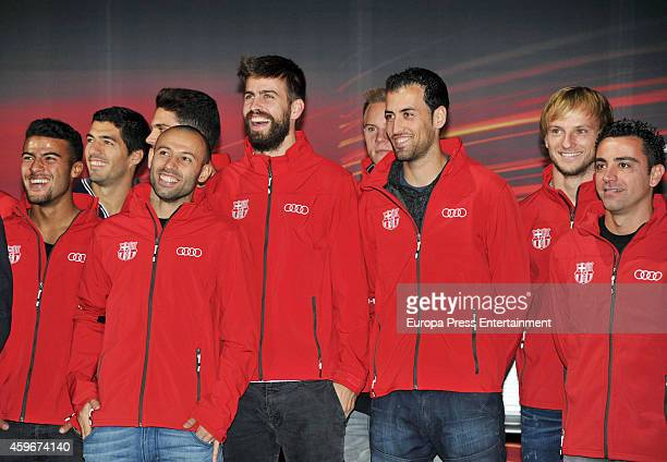 Barcelona Football Club players Luis Suarez Mascherano Gerard Pique Pedro Ivan Rakitic and Xavi Hernandez attend the presentation of Barcelona...