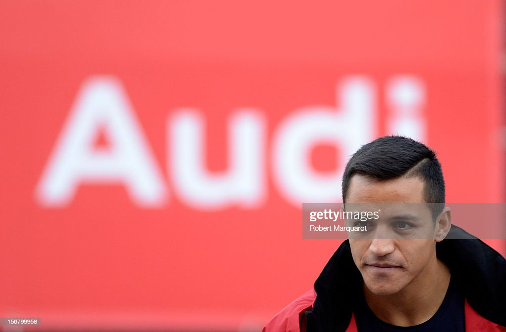 Barcelona football player <a gi-track='captionPersonalityLinkClicked' href=/galleries/search?phrase=Alexis+Sanchez&family=editorial&specificpeople=5515162 ng-click='$event.stopPropagation()'>Alexis Sanchez</a> attends an Audi presentation during which Barcelona FC players received new Audi cars for the 2012-2013 season at Camp Nou on November 21, 2012 in Barcelona, Spain.