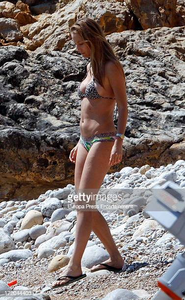 Barcelona football player Carles Puyol's girlfriend model Vanessa Lorenzo is seen on June 29 2013 in Ibiza Spain