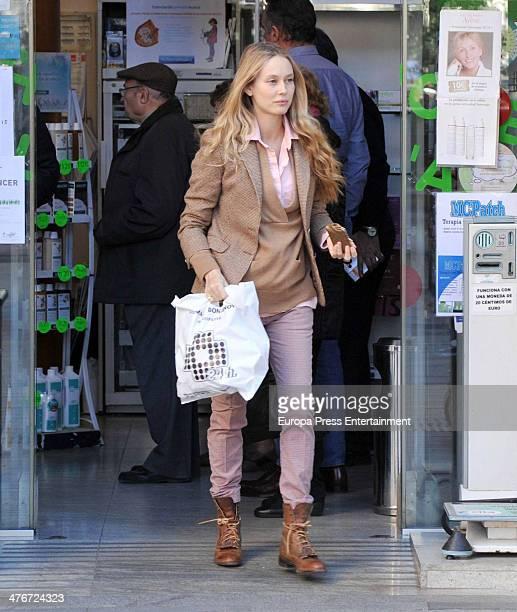 Barcelona football player Carles Puyol's girlfriend model Vanessa Lorenzo is seen on February 4 2014 in Barcelona Spain