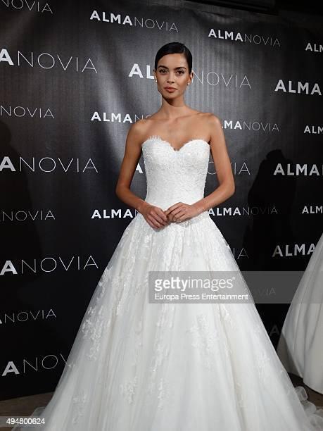 Barcelona football player Dani Alves's girlfriend Joana Sanz presents the new wedding dress collection by Alma Novia on October 28 2015 in Barcelona...
