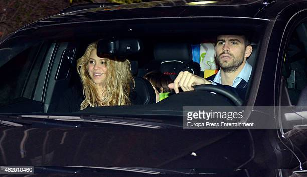 Barcelona football player Gerard Pique and Shakira attend the first birthday party of their son Milan Pique Mebarak on January 22 2015 in Barcelona...