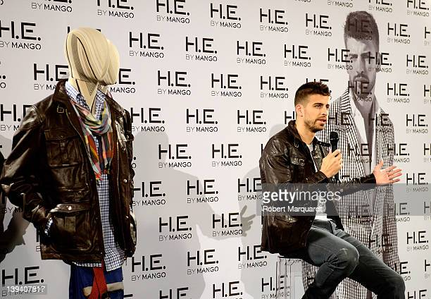Barcelona football player Gerard Pique presents the new HE Mango campaign during a press conference for MANGO 2012 on February 20 2012 in Barcelona...