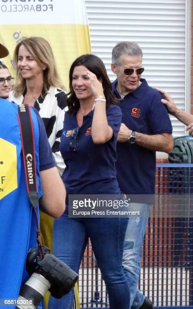 Barcelona football player Gerard Pique's parents Joan Pique and Montserrat Bernabeu attend the opening of the Cruyff Court Gerard Pique on May 24...