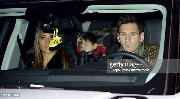 Barcelona football player Leo Messi Antonella Rocuzzo and their son Thiago Messi attend the first birthday party of Milan Pique Mebarak Shakira and...