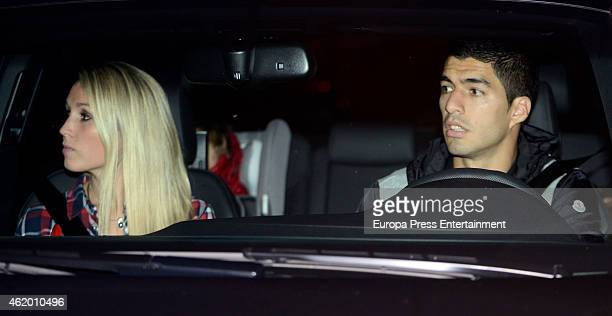 Barcelona football player Luis Suarez and Sofia Balbi attend the first birthday party of Milan Pique Mebarak Shakira and Gerard Pique's son on...