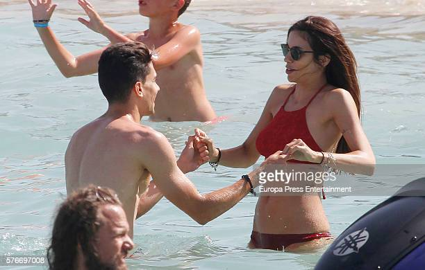 Barcelona football player Marc Bartra and Melissa Jimenez are seen on July 3 2016 in Ibiza Spain