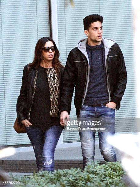 Barcelona football player Marc Bartra and sport journalist Melissa Jimenez are seen on March 05 2015 in Barcelona Spain
