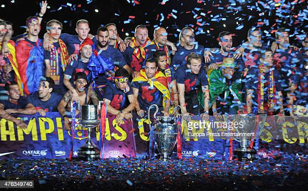 Barcelona football players celebrate victory in the UEFA Champions League Final on June 7 2015 in Barcelona Spain