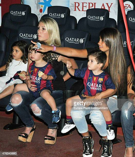 Barcelona football player's Lionel Messi girlfriend Antonella Rocuzzo and son Thiago Messi celebrate victory in the UEFA Champions League Final on...
