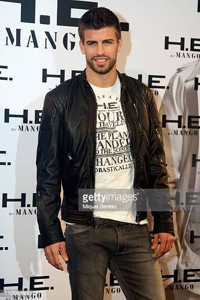 Barcelona footballer Gerard Pique attends a presentation by Mango as the new face of 'He by Mango' campaign for Spring/Summer 2011 at the Casa Capell...