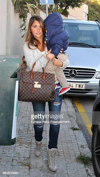 Barcelona footballplayer Leo Messi's wife Antonella Rocuzzo is seen arriving at Milan Pique first birthday party on January 23 2014 in Barcelona Spain