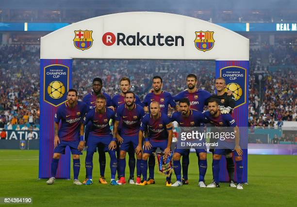 Barcelona for a team photo before the start of ''El Clasico Miami'' against Real Madrid as part of the International Champions Cup on Saturday July...