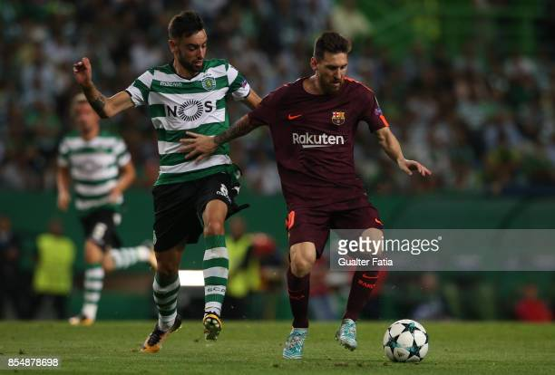 Barcelona forward Lionel Messi from Argentina with Sporting CP midfielder Bruno Fernandes from Portugal in action during the UEFA Champions League...