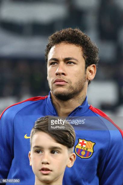 Barcelona forward Neymar poses in order to be photographed before the Uefa Champions League quarter finals football match JUVENTUS BARCELONA on at...