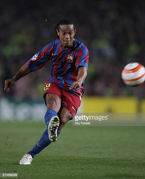 Barcelona forward Ronaldinho whips in a free kick during the UEFA Champions league semi final between Barcelona and AC Milan on April 26 2006 at the...