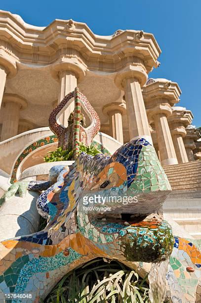 Barcelona Gaudí mosaic dragon Sala Hipostila Parc Güell Catalunya Spain