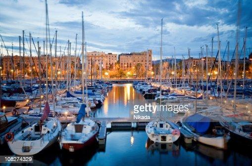Barcelona Harbor at Dusk