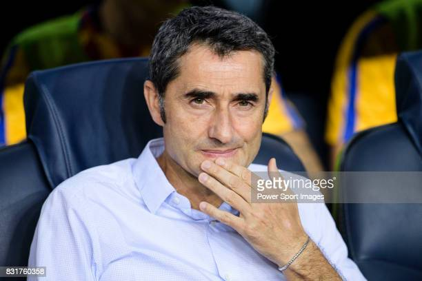 Barcelona Head Coach Ernesto Valverde during the Supercopa de Espana Final 1st Leg match between FC Barcelona and Real Madrid at Camp Nou on August...