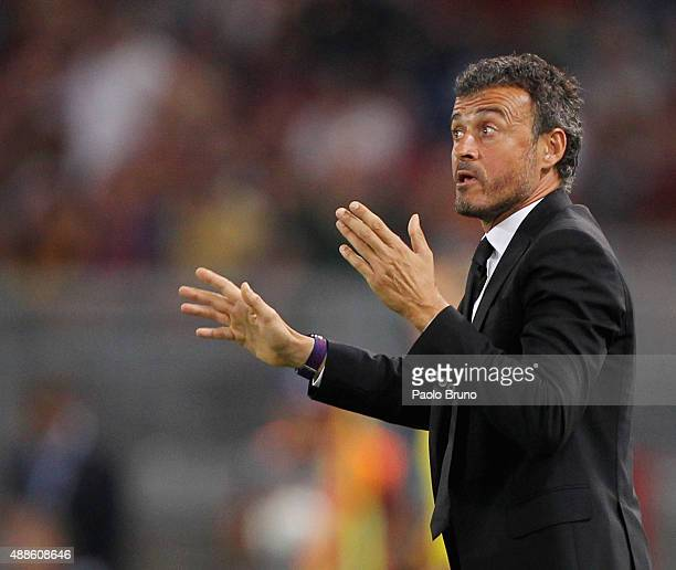 Barcelona head coach Luis Enrique reacts during the UEFA Champions League Group E match between AS Roma and FC Barcelona at Stadio Olimpico on...