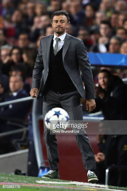 Barcelona Head Coach / Manager Luis Enrique looks on during the UEFA Champions League Quarter Final second leg match between FC Barcelona and...