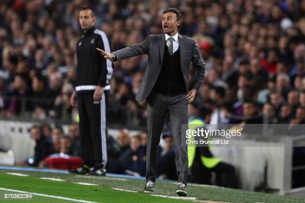 Barcelona Head Coach / Manager Luis Enrique reacts during the UEFA Champions League Quarter Final second leg match between FC Barcelona and Juventus...