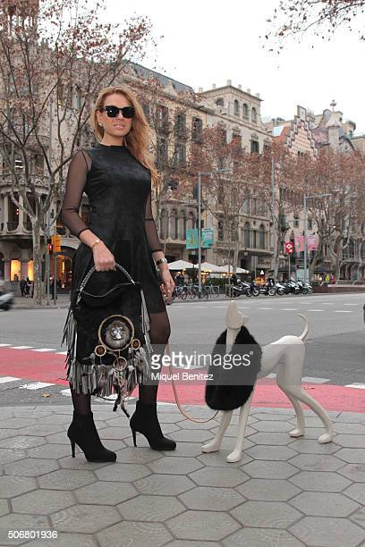 Roser is wearing a Capazonia handbag made in natural pony's fur with dreams catcher La Condesa black lingerie body Sand leather dress from Pilar...