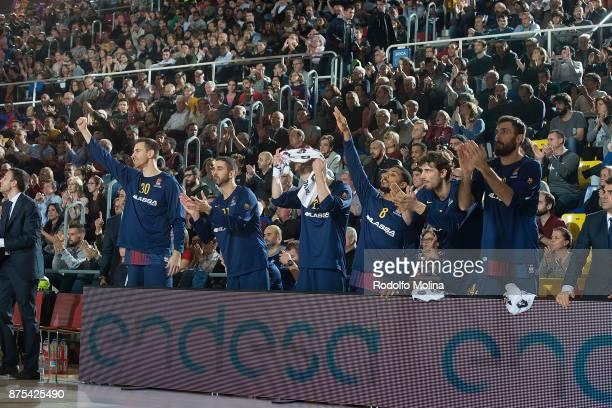 Barcelona Lassa bench players celebrates after scorer during the 2017/2018 Turkish Airlines EuroLeague Regular Season Round 8 game between FC...