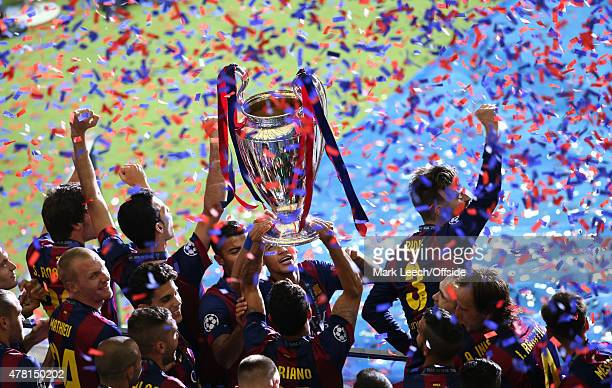 Barcelona lift the European Cup during the UEFA Champions League Final between Juventus and FC Barcelona at Olympiastadion on June 6 2015 in Berlin...