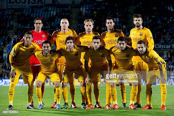 Barcelona line up prior to start the La Liga match between Getafe CF and FC Barcelona at Coliseum Alfonso Perez on October 31 2015 in Getafe Spain