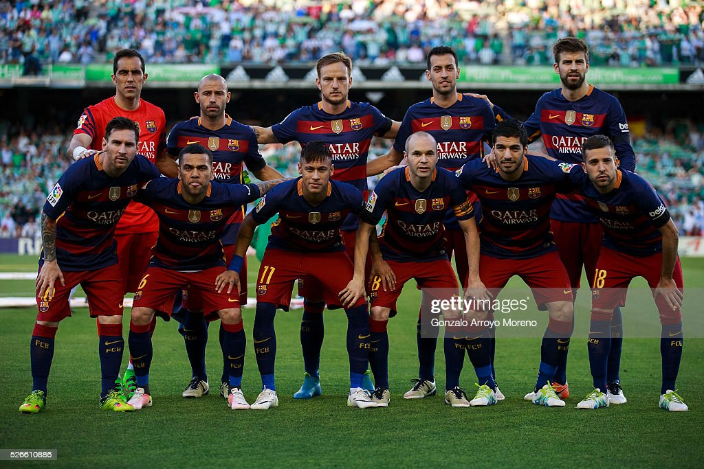 FC Barcelona line up prior to start the La Liga match between Real Betis Balompie and FC Barcelona at Estadio Benito Villamarin on April 30, 2016 in Seville, Spain.