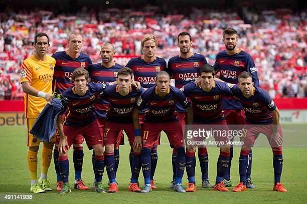 Barcelona line up prior to start the La Liga match between Sevilla FC and FC Barcelona at Estadio Ramon Sanchez Pizjuan on October 3 2015 in Seville...