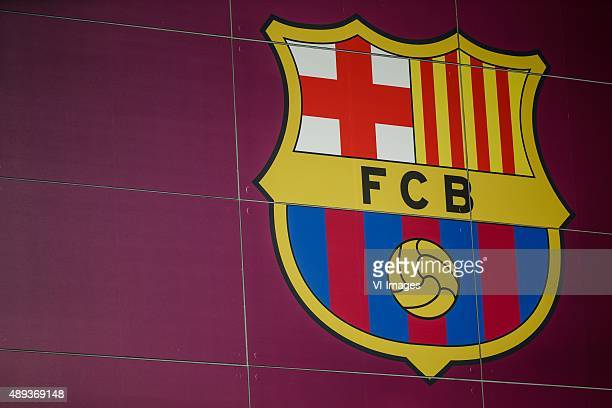 FC Barcelona logo during the Primera Division match between FC Barcelona and Levante UD on September 20 2015 at Camp Nou stadium in Barcelona Spain
