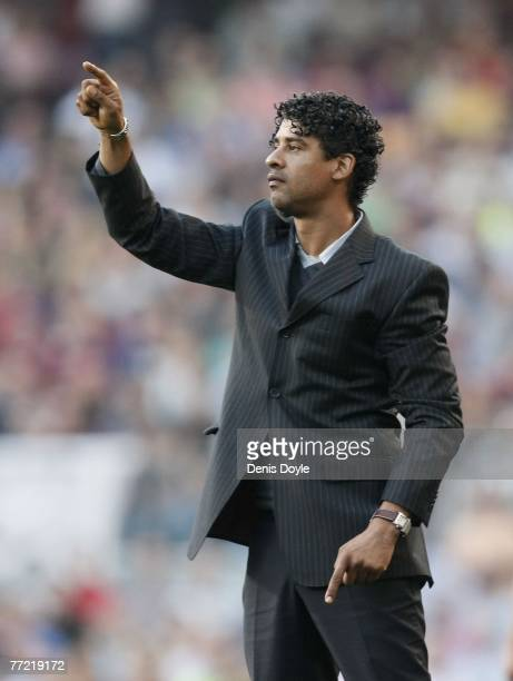 Barcelona manager Frank Rijkaard advises his team during the Primera Liga match between Barcelona and Atletico de Madrid at the Camp Nou stadium on...