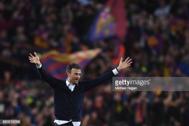 Barcelona manager Luis Enrique celebrates after the UEFA Champions League Round of 16 second leg match between FC Barcelona and Paris SaintGermain at...