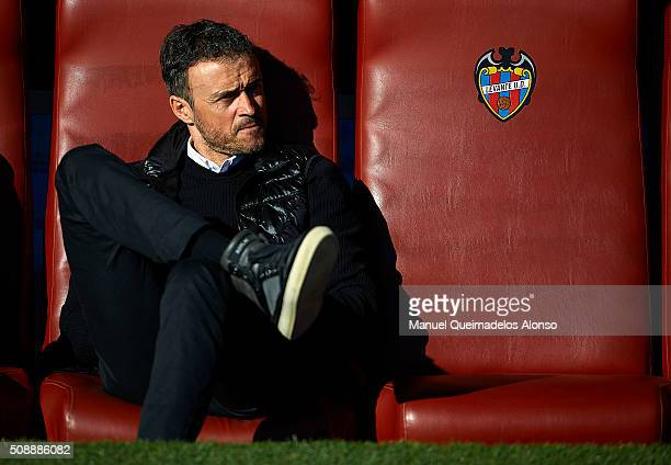 Barcelona manager Luis Enrique looks on prior to the La Liga match between Levante UD and FC Barcelona at Ciutat de Valencia on February 07 2016 in...