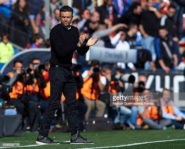 Barcelona manager Luis Enrique reacts diring the La Liga match between Levante UD and FC Barcelona at Ciutat de Valencia on February 07 2016 in...