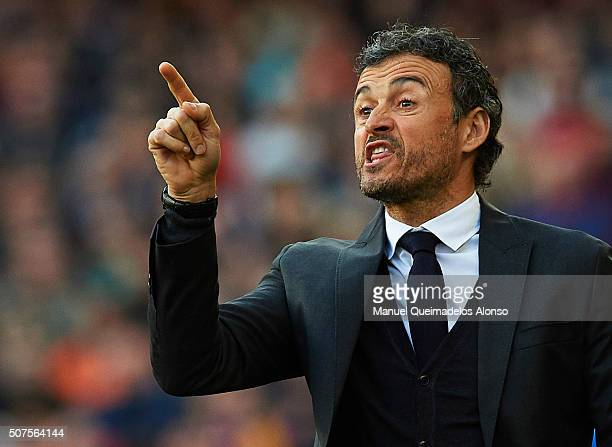 Barcelona manager Luis Enrique reacts during the La Liga match between FC Barcelona and Atletico de Madrid at Camp Nou on January 30 2016 in...