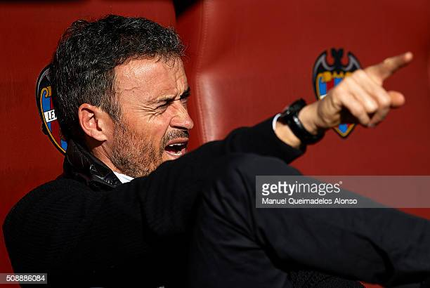 Barcelona manager Luis Enrique reacts prior to the La Liga match between Levante UD and FC Barcelona at Ciutat de Valencia on February 07 2016 in...