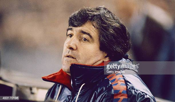 Barcelona mananger Terry Venables looks on during a European Cup match between Barcelona and Juventus in March 1986 in Barcelona Spain