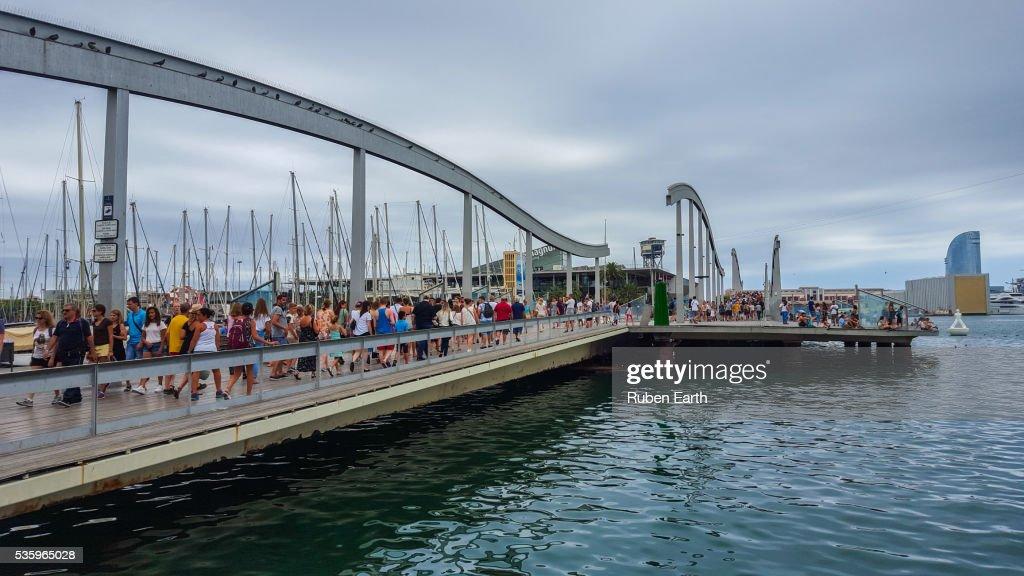 Barcelona maremagnum bridge : Stock Photo